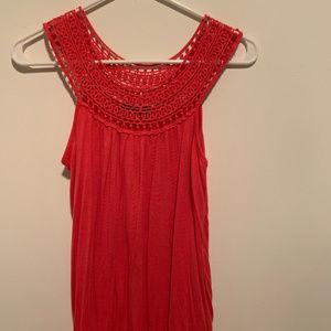 LIPSTICK - red, crochet top, casual shirt